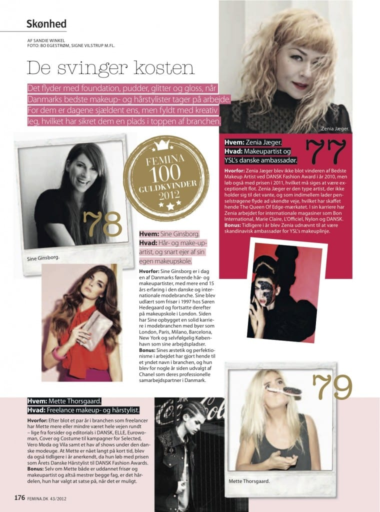 artikel-femina-100 Guldkvinder-2012, Sine Ginsborg,