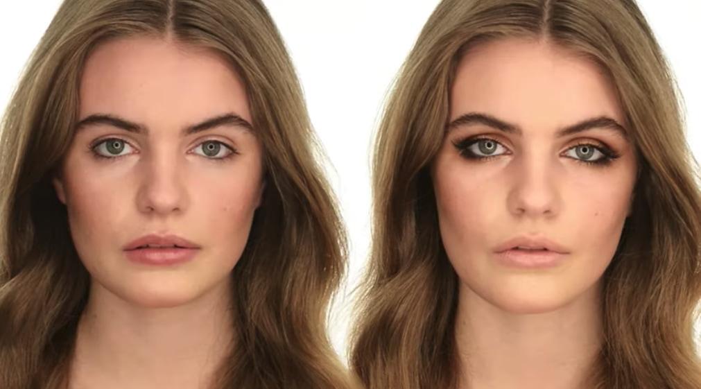 Før og efter makeup af sine ginsborg